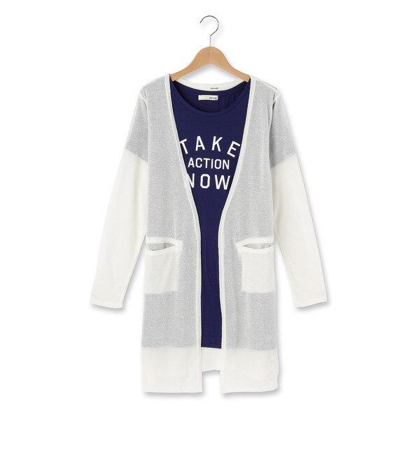 【シューラルー/SHOO・LA・RUE】 ◆ロゴTシャツ+薄手ロングカーデ [3000円(税込)以上で送料無料]
