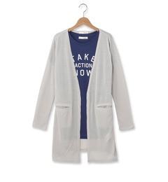 【シューラルー/SHOO・LA・RUE】 ロゴTシャツ+薄手ロングカーデ [3000円(税込)以上で送料無料]
