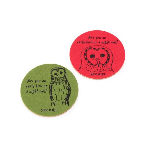 【シューラルー/SHOO・LA・RUE】 フクロウ コースター2枚セット [3000円(税込)以上で送料無料]