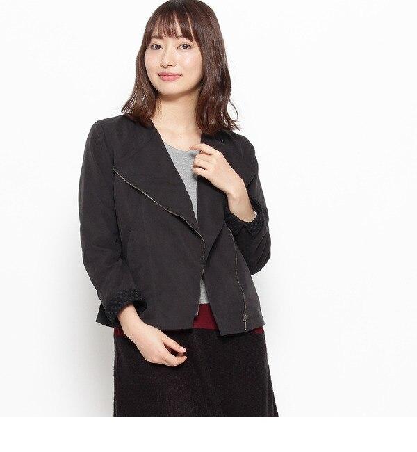 【シューラルー/SHOO・LA・RUE】 袖裏レースライダースブルゾン [送料無料]