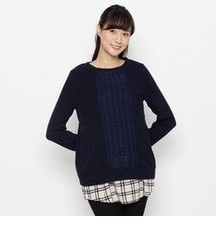 【シューラルー/SHOO・LA・RUE】ケーブルニット×シャツ裾タンクSET[送料無料]