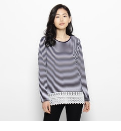 【シューラルー/SHOO・LA・RUE】 裾レース長袖Tシャツ [3000円(税込)以上で送料無料]