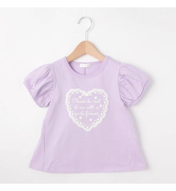 【シューラルー/SHOO・LA・RUE】 ハート発泡Aラインパフ袖Tシャツ