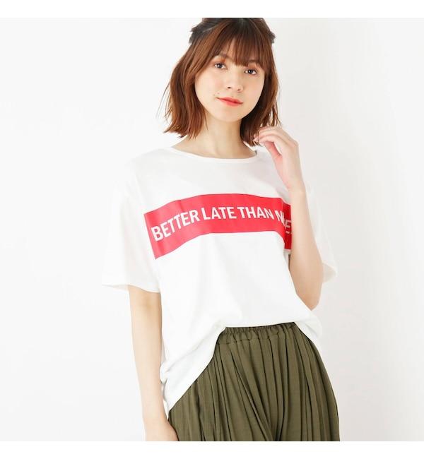 【シューラルー/SHOO・LA・RUE】 BOXラインロゴTシャツ