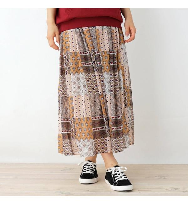 【シューラルー/SHOO・LA・RUE】 オリエンタルパッチワーク柄スカート