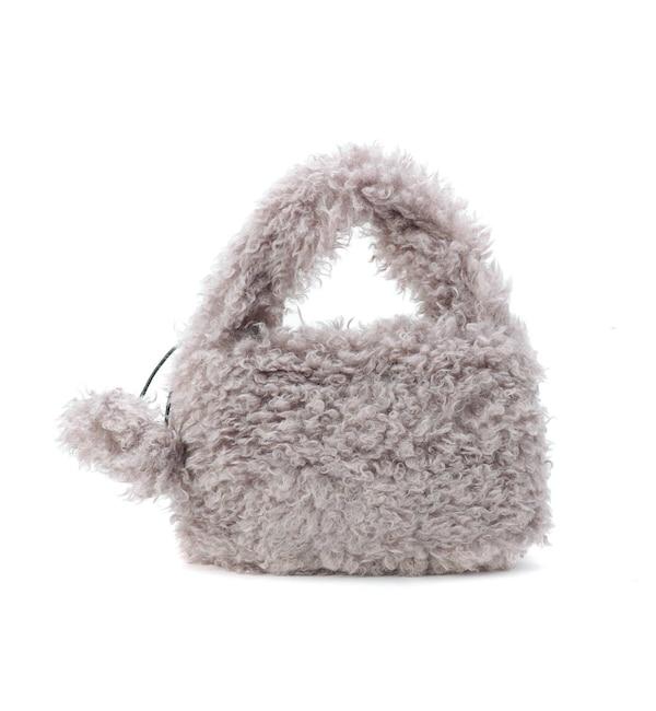 【シューラルー/SHOO・LA・RUE】 2WAY ポンポン付きカーリーエコファーハンドバッグ