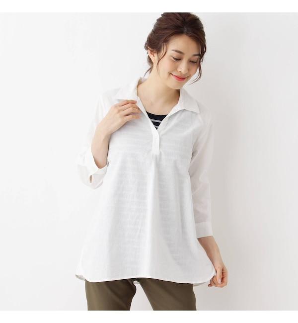 【シューラルー/SHOO・LA・RUE】 ◆【らくリネン・2点セット】綿麻スキッパーシャツ+タンクトップ