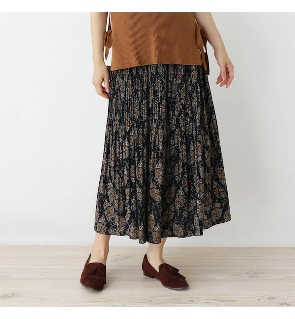 【ピンクアドベ/pink adobe】 ペイズリーパターン プリーツスカート