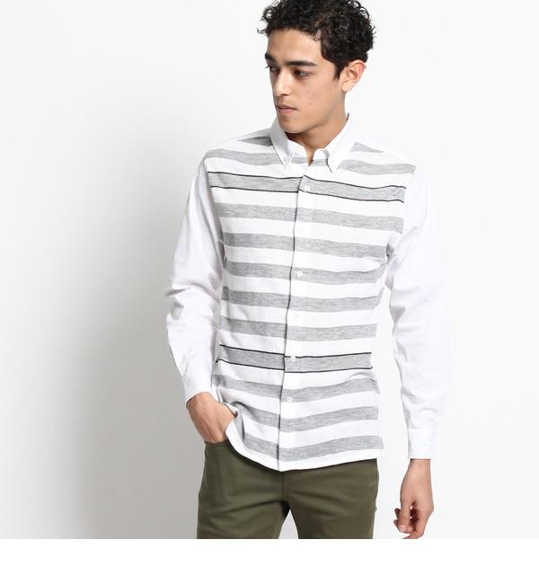【デッサン/Dessin】 【洗える】ボーダーニット切り替えシャツ [送料無料]