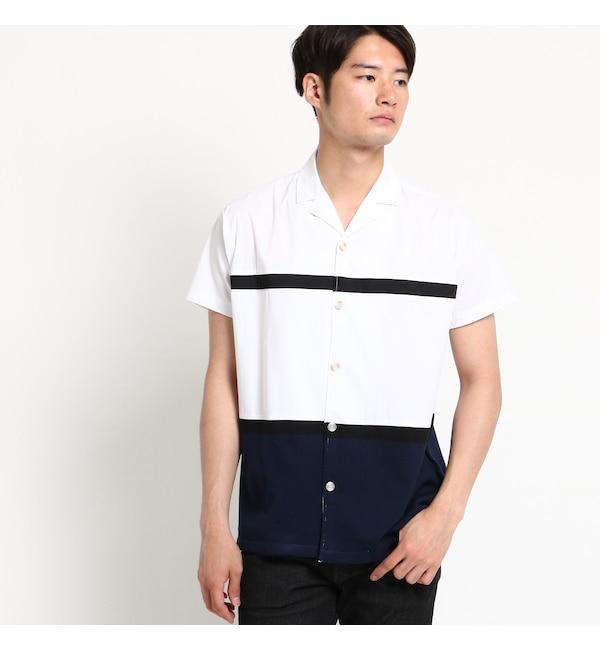【デッサン/Dessin】 【洗える】オープンカラードッキングブロードシャツ