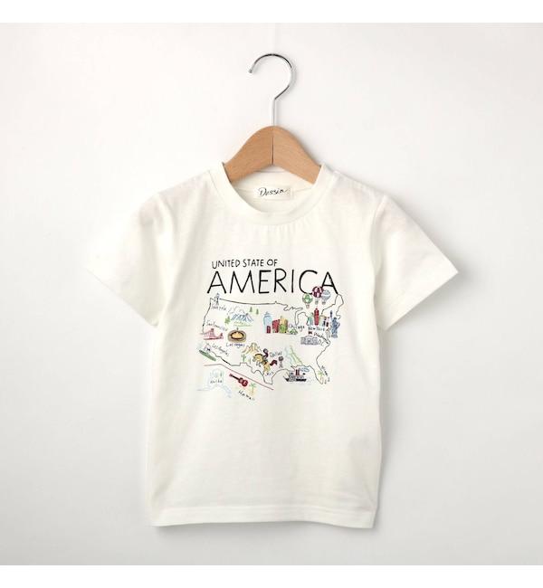 【デッサン/Dessin】 20天竺 アメリカマップTシャツ