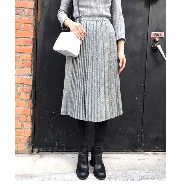 <アイルミネ> カラーチェックプリーツスカート