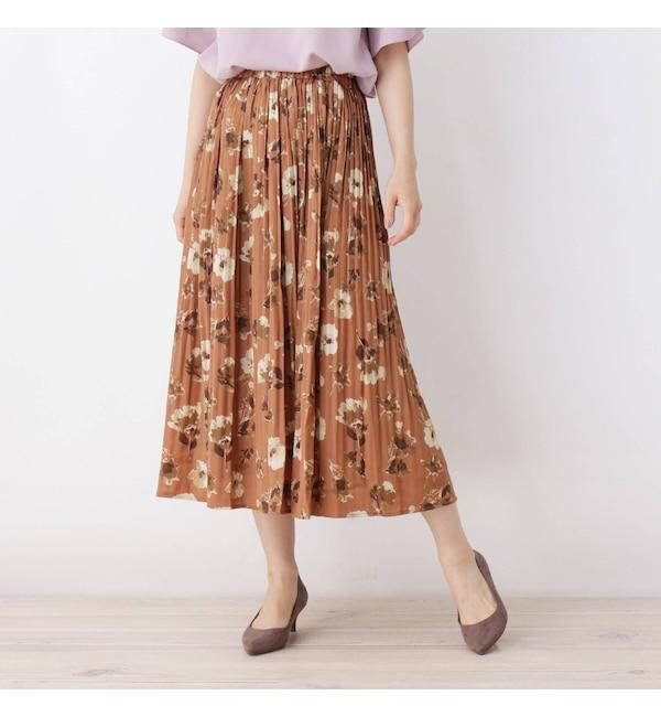 【イッツデモ/ITS'DEMO】 フラワーマットサテン消しプリーツスカート