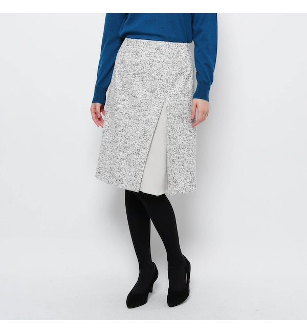 【ソフール/Sofuol】 ツイード切り替えワイドスリットスカート