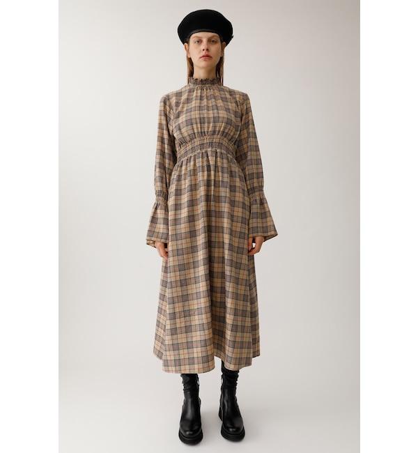 【マウジー/MOUSSY】 FLARE SLEEVE CHECK DRESS