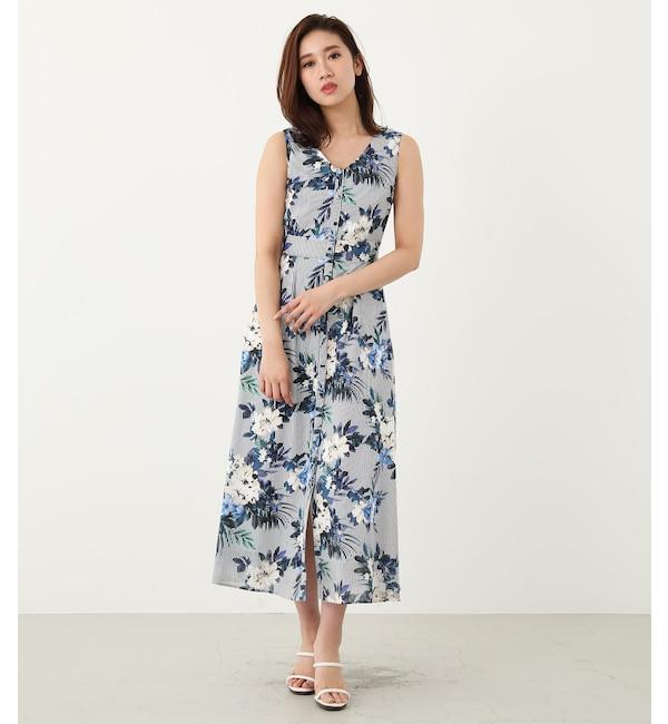【リエンダ/rienda】 floral stripeロングOP