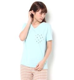 【ロデオクラウンズワイドボウル/RODEO CROWNS WIDE BOWL】 柄ポケット Tシャツ [送料無料]