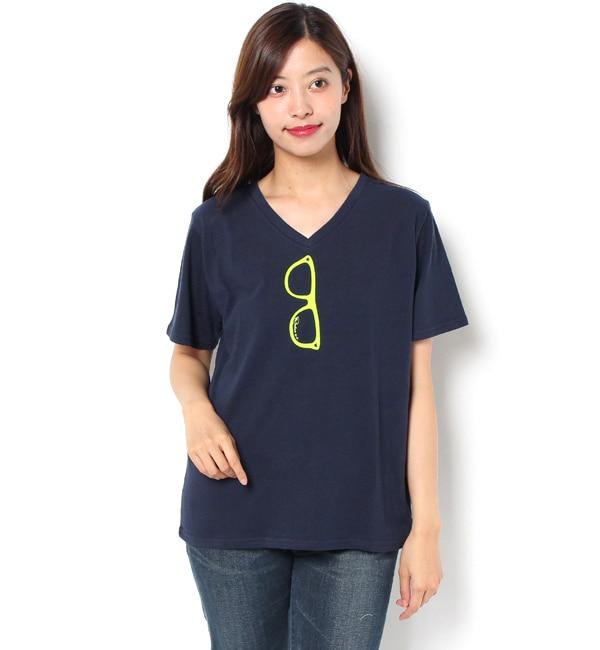 【ロデオクラウンズワイドボウル/RODEO CROWNS WIDE BOWL】 グラス Vネック Tシャツ [3000円(税込)以上で送料無料]