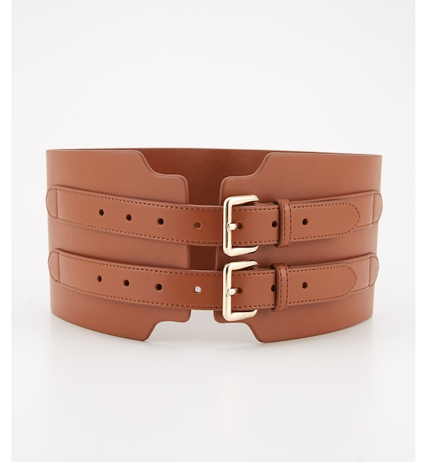 【スライ/SLY】 WIDE SPLIT LEATHER DOUBLE BELT
