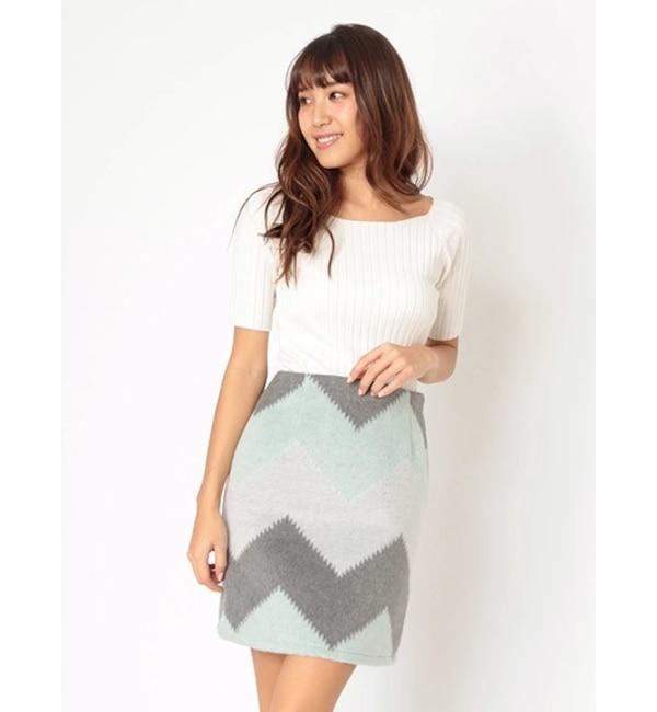 【セシルマクビー/CECIL McBEE】 ジグザグ配色台形スカート
