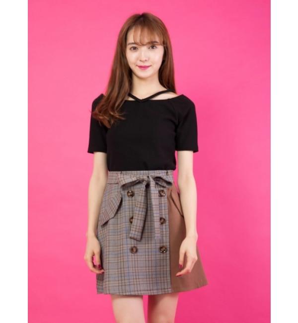 【セシルマクビー/CECIL McBEE】 ブロッキングトレンチスカート