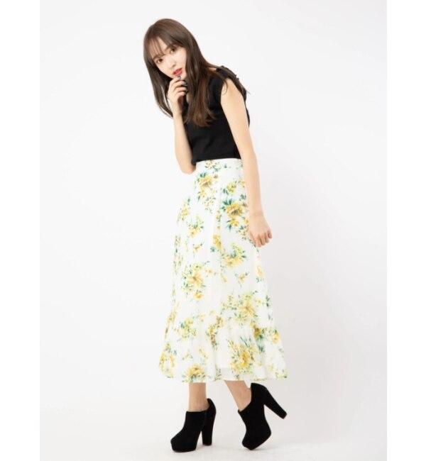 【セシルマクビー/CECIL McBEE】 フラワーロングスカート