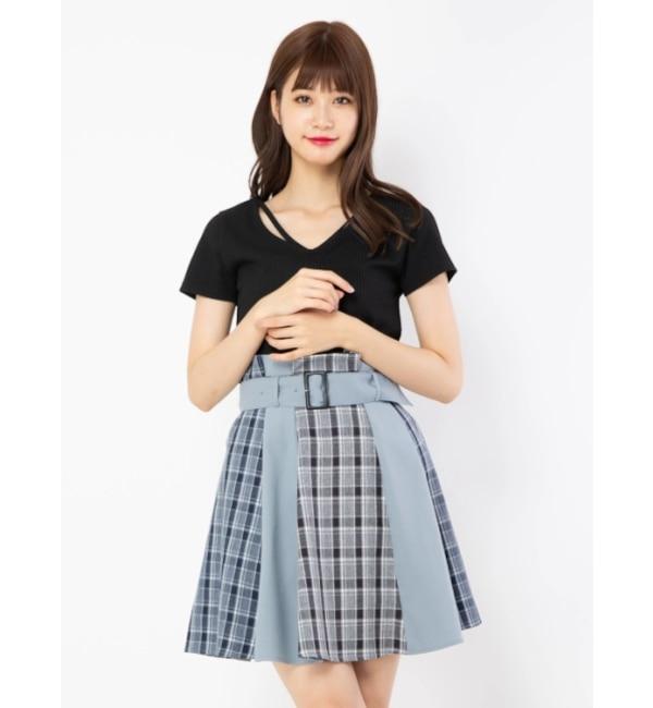 【セシルマクビー/CECIL McBEE】 ブロッキングスカート