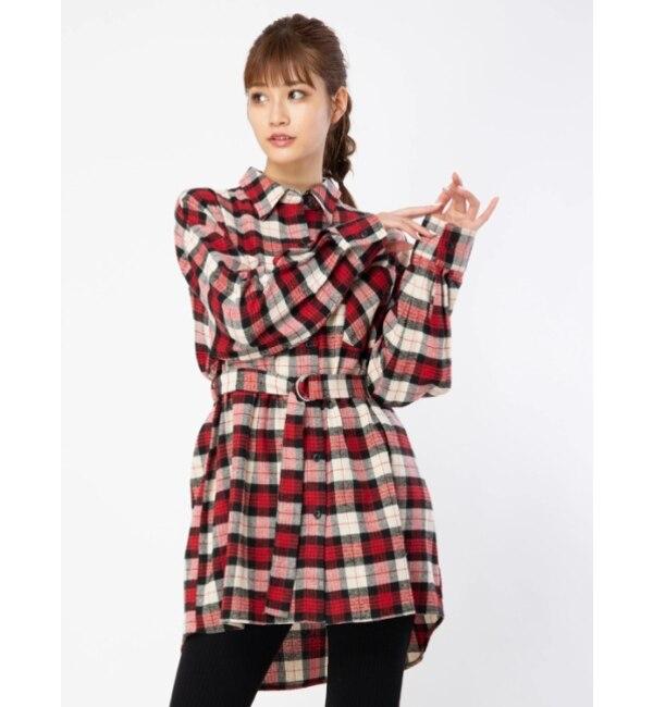 【セシルマクビー/CECIL McBEE】 Dカンベルトチェックネルシャツ