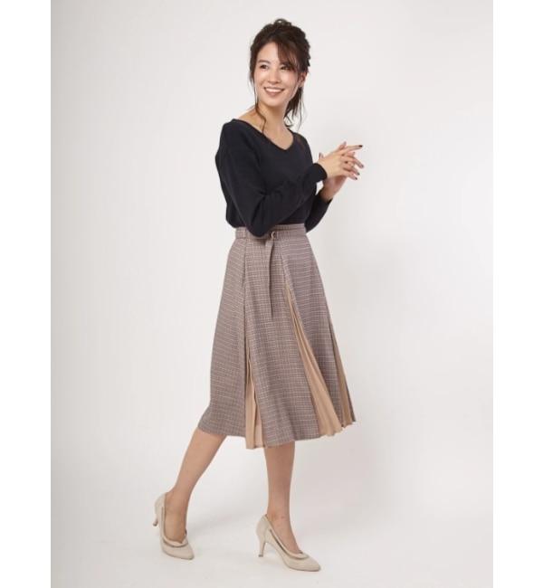 【ファビュラス アンジェラ/Fabulous Angela】 ガンクラチェック×ジョーゼットプリーツスカート