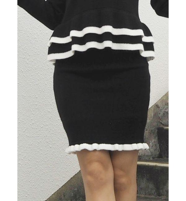 【リゼクシー/RESEXXY】 配色ニットタイトスカート