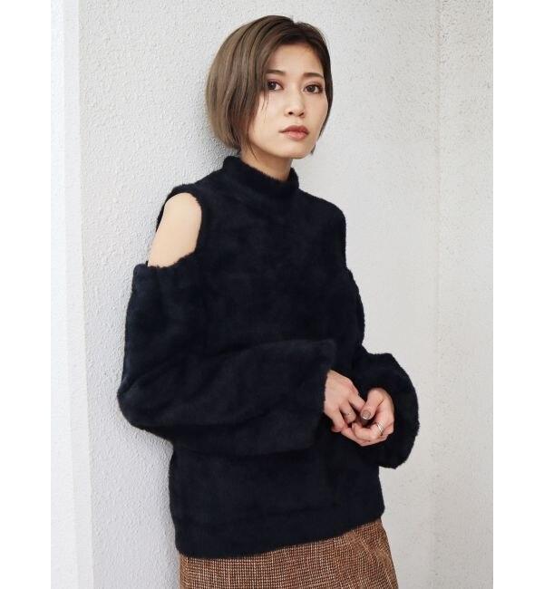 【エモダ/EMODA】 ショルダーオープンシャギーニット