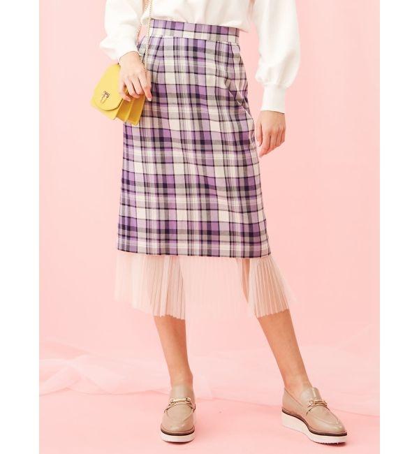 【マーキュリーデュオ/MERCURYDUO】 2WAYヘムプリーツチェック柄タイトスカート