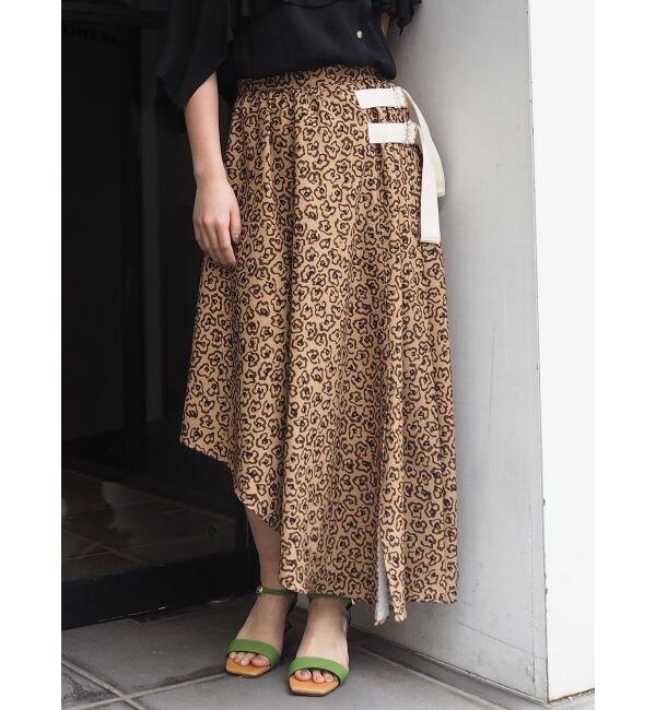 【ムルーア/MURUA】 フラワーレオパードスカート