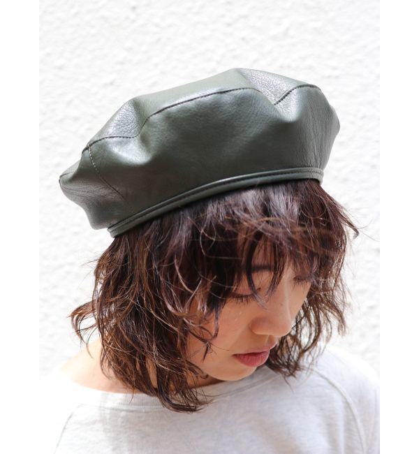 【アングリッド/Ungrid】 フェイクレザーベレー帽