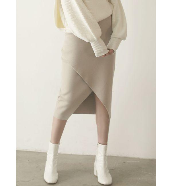 【ラグナムーン/LAGUNAMOON】 スクエアラップニットスカート