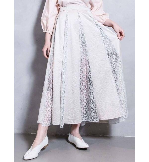 【メリージェニー/merry jenny】 レースコンビフレアスカート