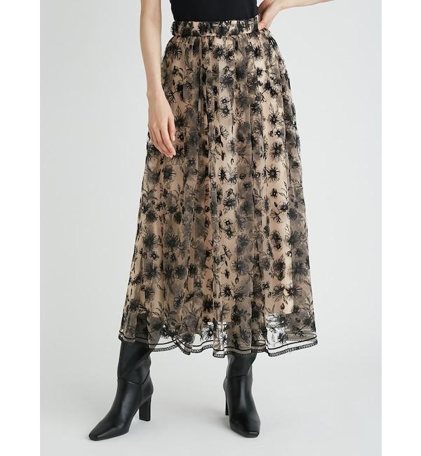 ギャザーフレアフローラル刺繍スカート