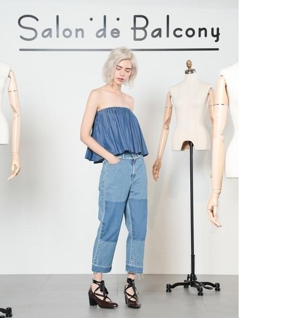 【サロン ド バルコニー/Salon de Balcony】 [Balcony and Bed]リペアカラーコンビデニムパンツ [送料無料]