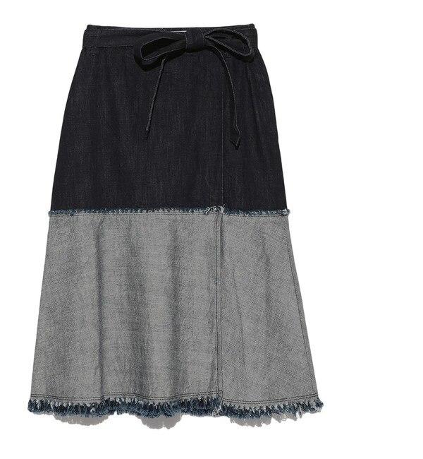 【リリーブラウン/Lily Brown】 切替ラップ風デニムスカート [送料無料]