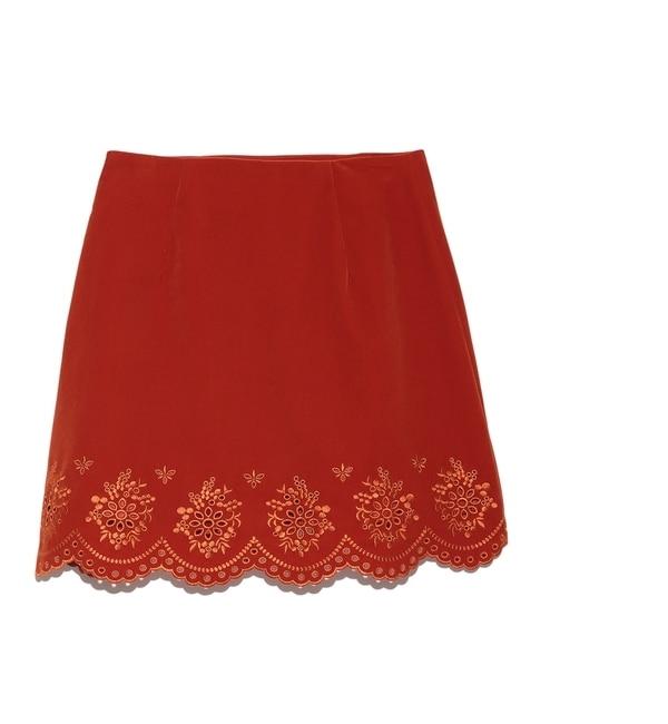【リリーブラウン/Lily Brown】 ベロア刺繍台形スカート [送料無料]
