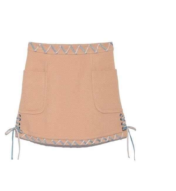 【リリーブラウン/Lily Brown】 レースアップ台形スカート [送料無料]