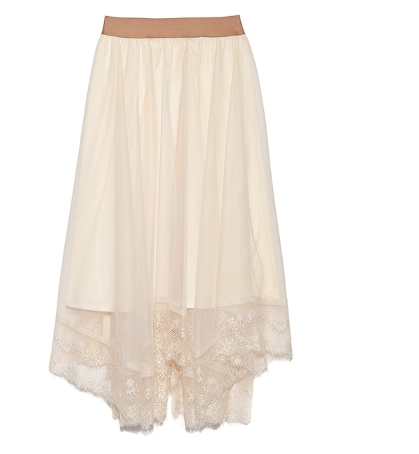 【リリーブラウン/Lily Brown】 チュール刺繍スカート [送料無料]