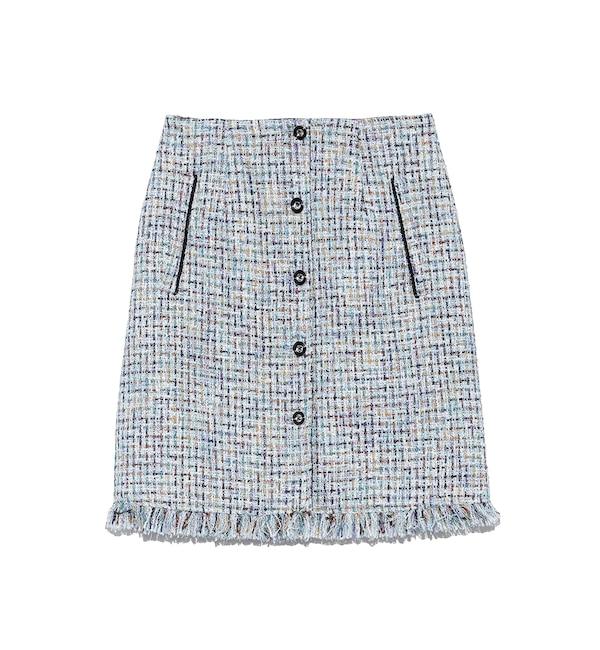 【リリーブラウン/Lily Brown】 ツイード台形スカート