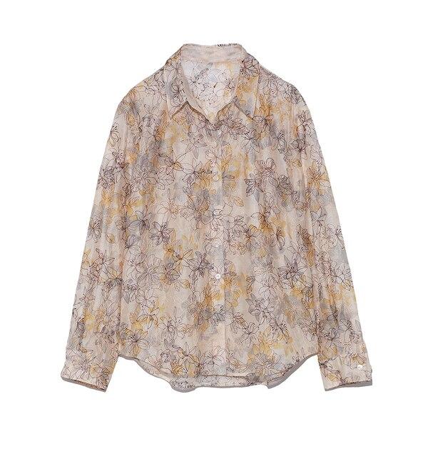 【リリーブラウン/Lily Brown】 ぼかし花柄刺繍シャツ