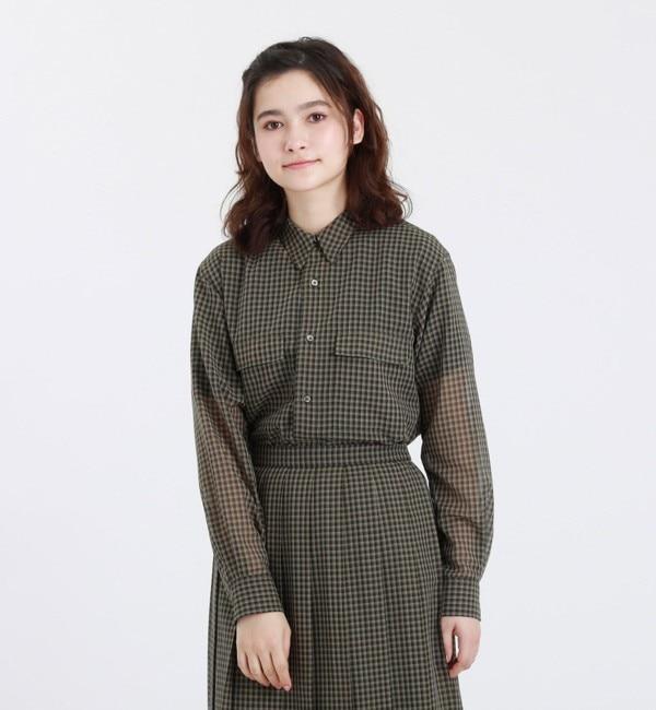 シアーチェックミリタリーシャツ