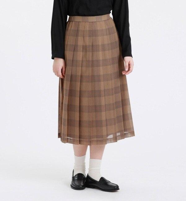 シアーチェックプリーツスカート