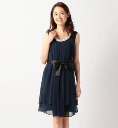 【ミューズ リファインド クローズ/MEW'S REFINED CLOTHES】 ベルト付きドレス《結婚式/二次会/謝恩会/パーティー》 [送料無料]