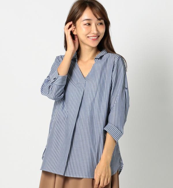 【ミューズ リファインド クローズ/MEW'S REFINED CLOTHES】 CVC抜き襟シャツチュニック