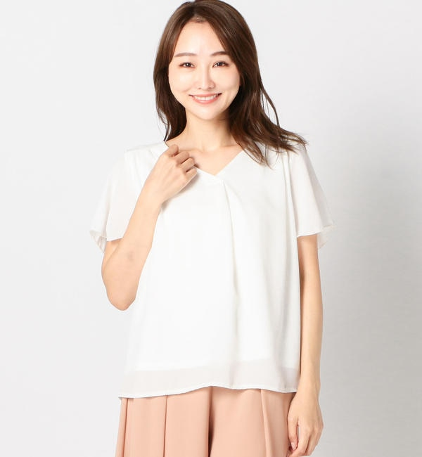 【ミューズ リファインド クローズ/MEW'S REFINED CLOTHES】 Vタックカバーリングブラウス