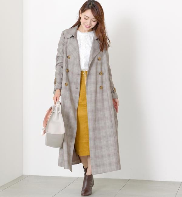 【ミューズ リファインド クローズ/MEW'S REFINED CLOTHES】 チェックバックプリーツトレンチ